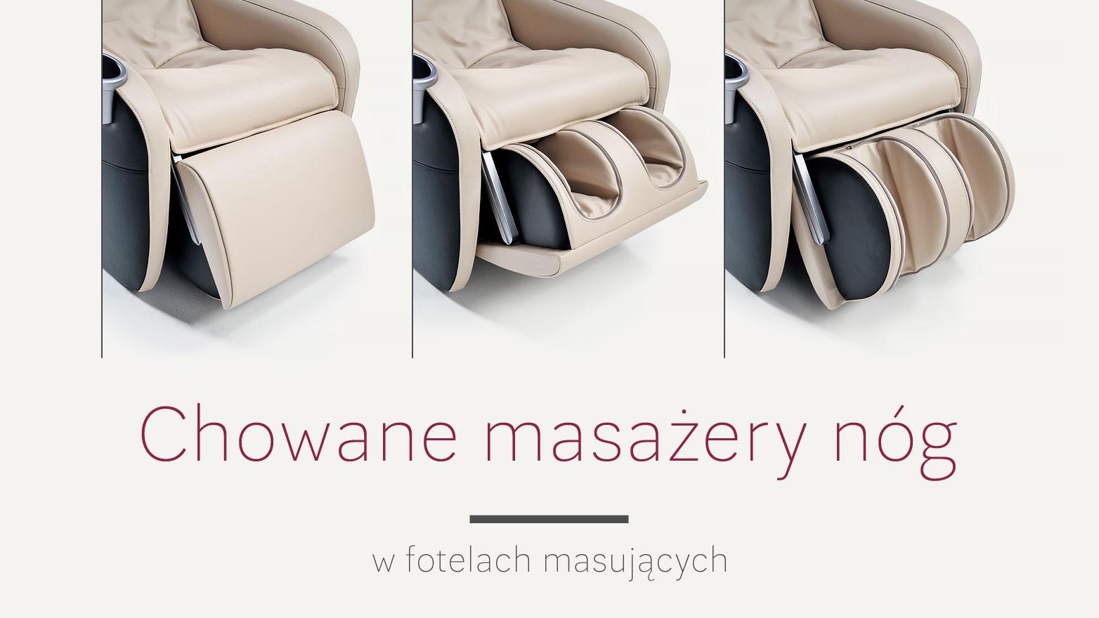 Chowane masażery nóg w fotelach masujących Rest Lords