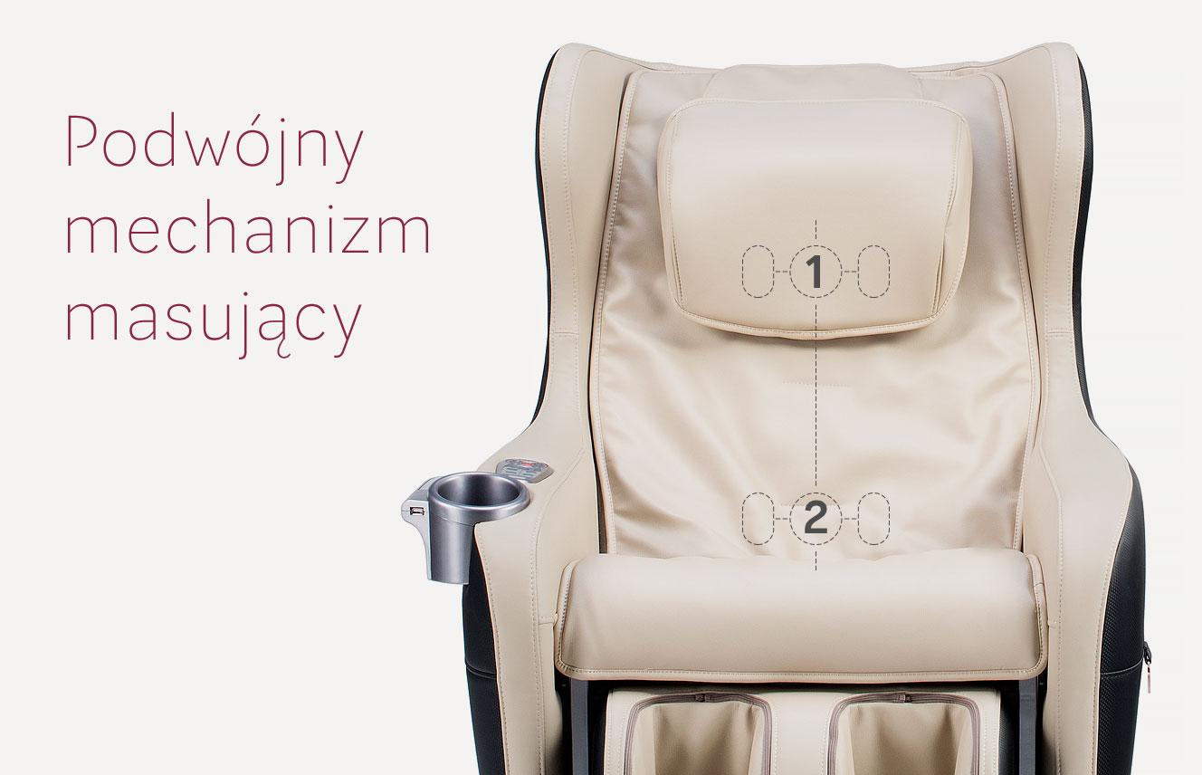 Podwójny mechanizm masujący w fotelu masującym