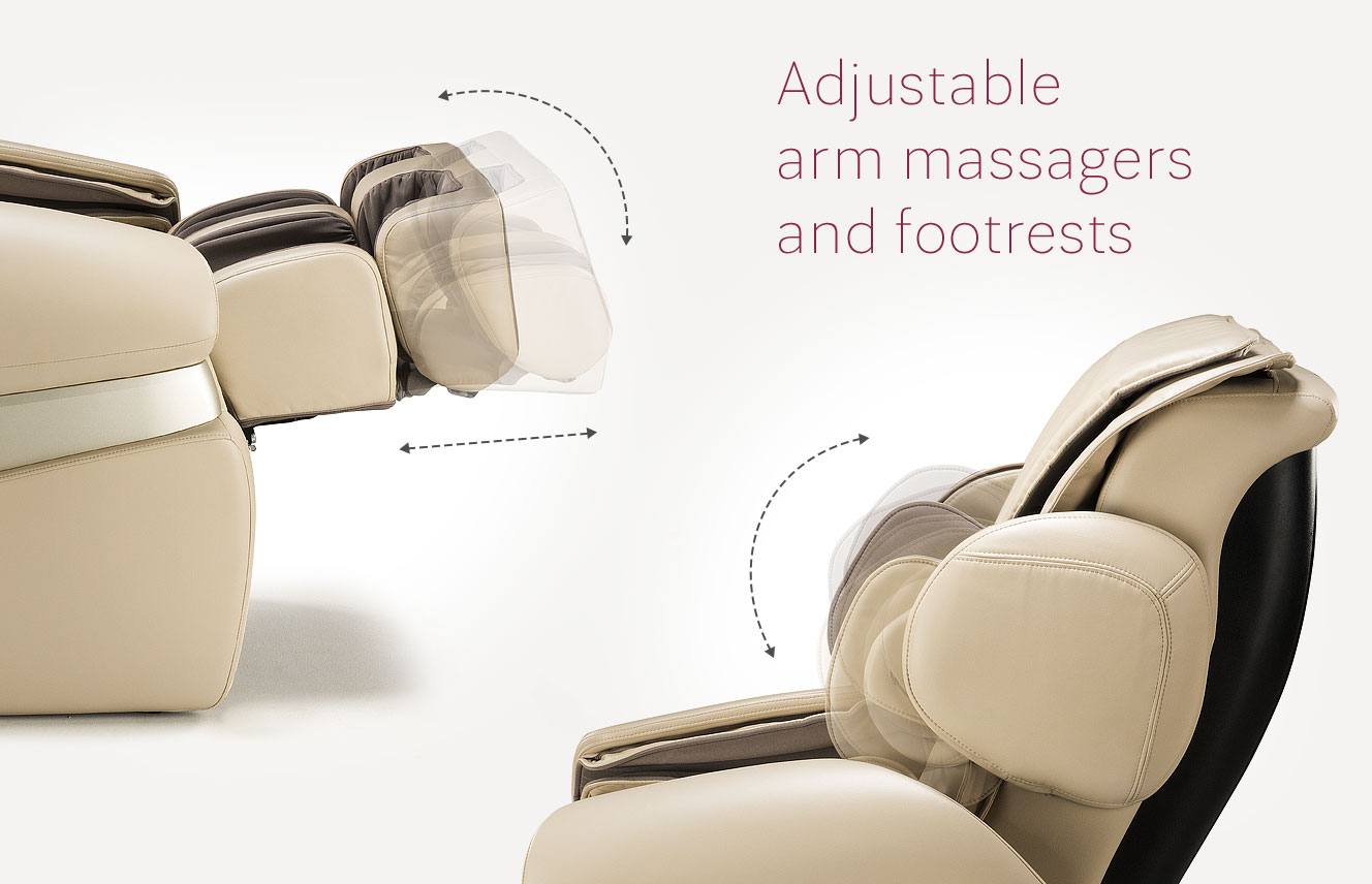 Adjustable arm massagers and footrests