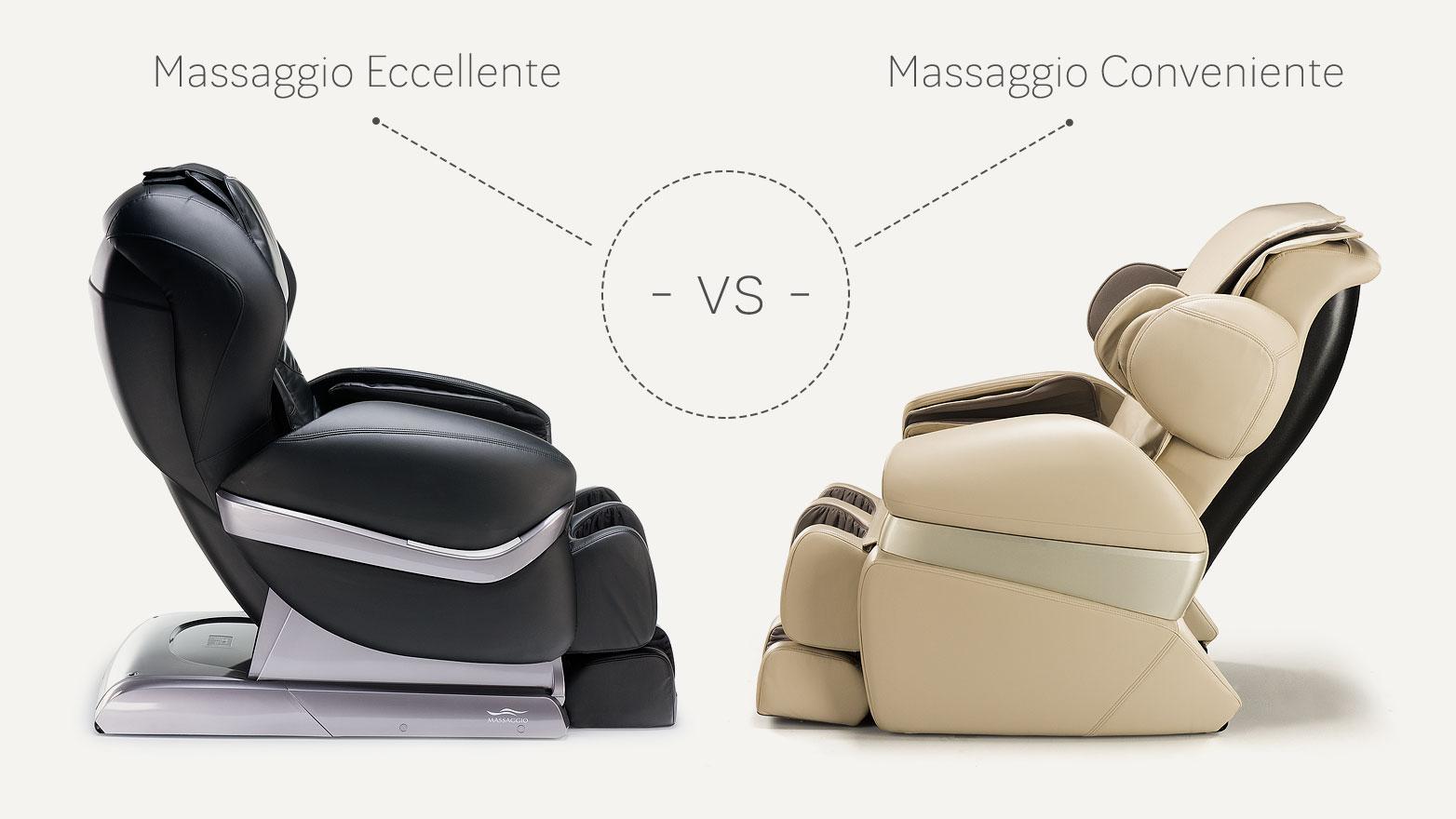 Massage armchair Massaggio Eccellente vs Conveniente