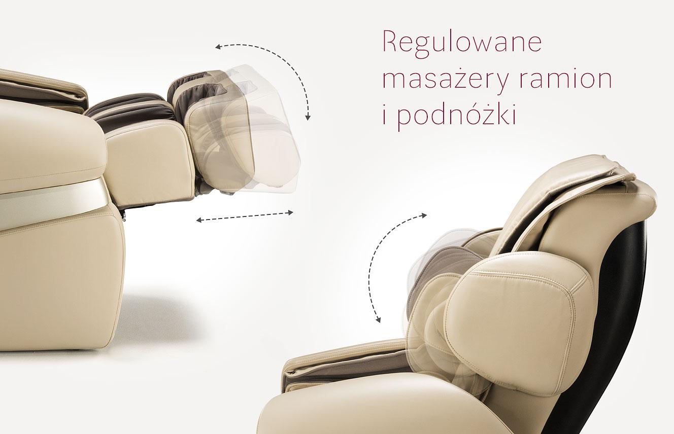 Regulowany masażer ramion w fotelu masującym
