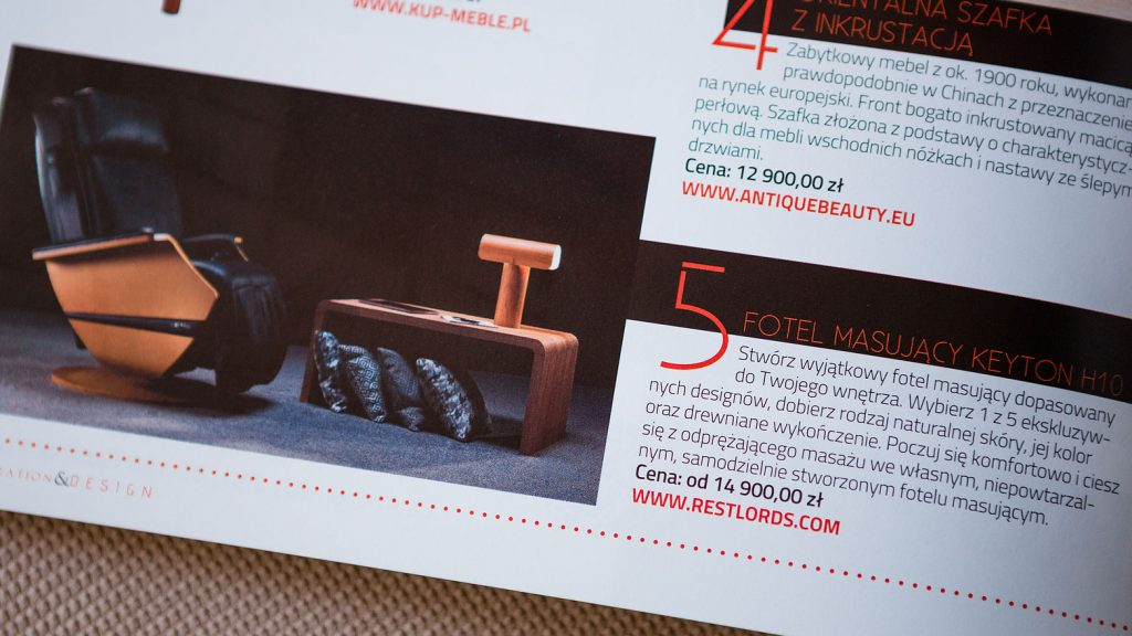 Massage chair Rest Lords at Decoration & Design magazine 1