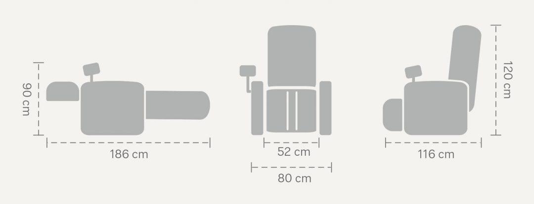 Size of massage chair Massaggio Bello
