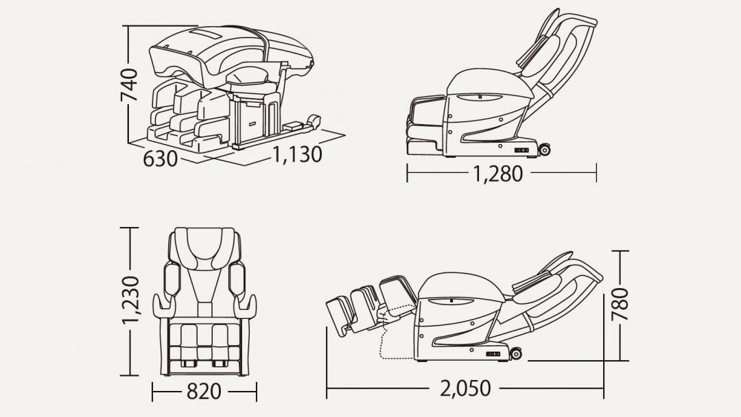 Wymiary fotela masującego EC-3800