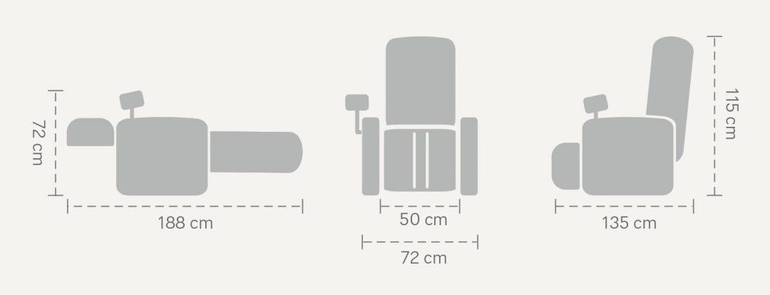 Wymiary fotela Massaggio Conveniente